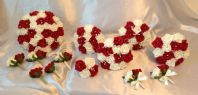 WEDDING PACKAGE-ARTIFICIAL FLOWERS FOAM ROSE BOUQUETS - RUBY RED/IVORY BRIDE